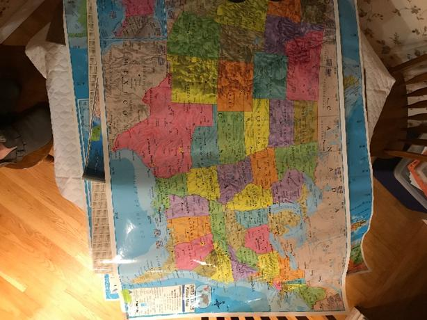 laminated maps of Canada, Us, North America, world