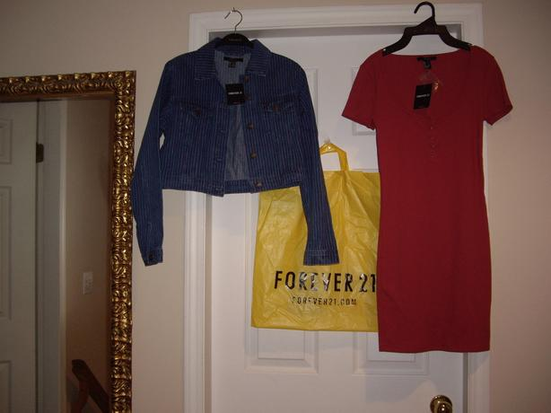ladies small forever 21 dress, jean jacket all new