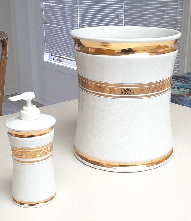 Decorator Soap Dispenser & Waste Basket FOR SALE