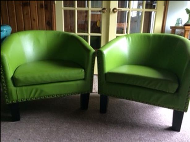 Pair of pear green barrel chairs purchased from Wayfair