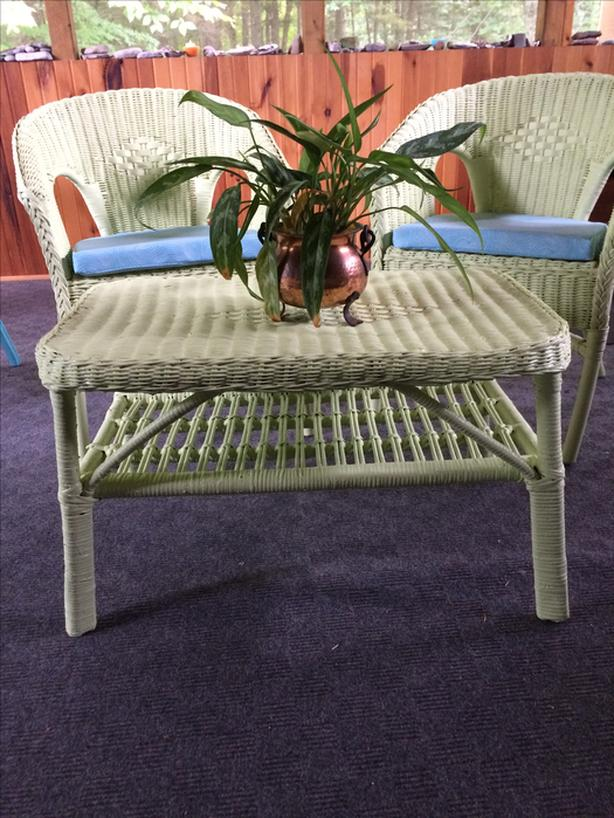 2 Solid Wicker Chairs and Coffee Table