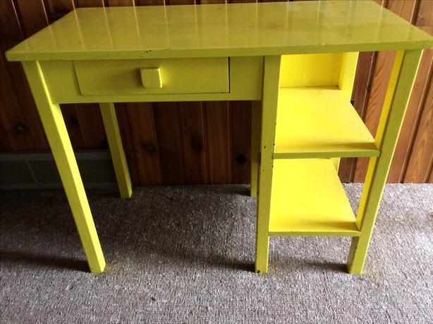 1950 Wooden Yellow Desk