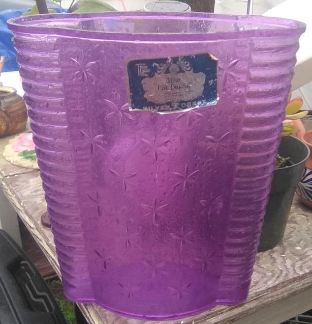 Beautiful Retro Purple Bathroom Trash Garbage Bin Cut Crystal Silver Forest