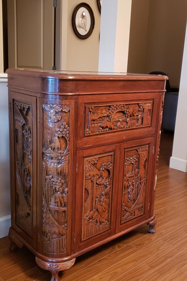Teak Asian Carved Cocktail Cabinet