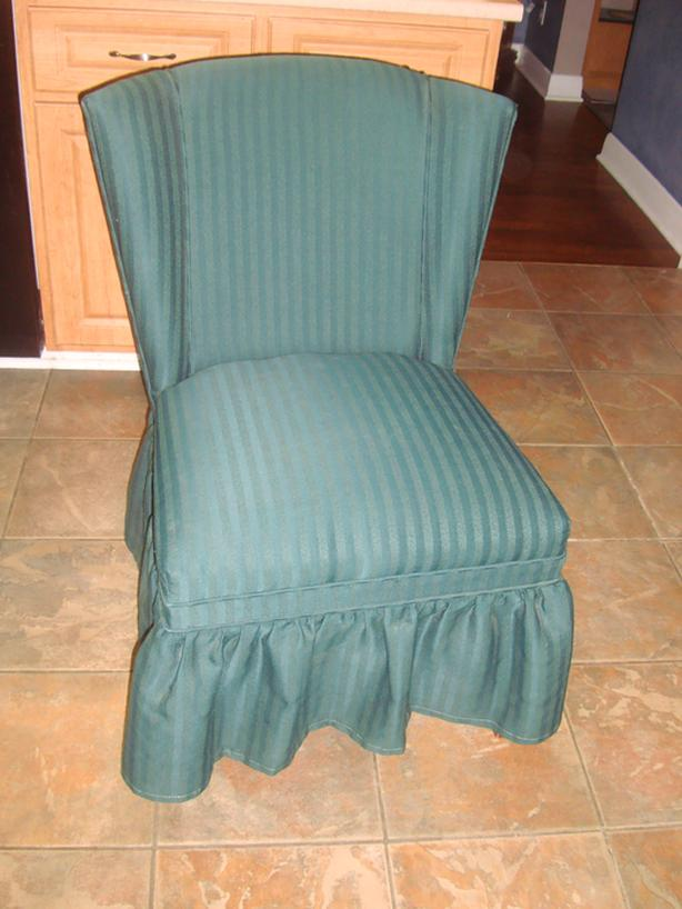 Beautiful Solid Wood Green Upholstered Chair - $70