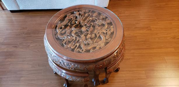 Teak Asian Carved Coffee Table