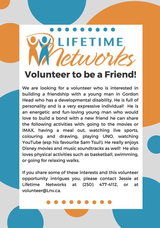 Volunteer to become a Friend to someone with a disability
