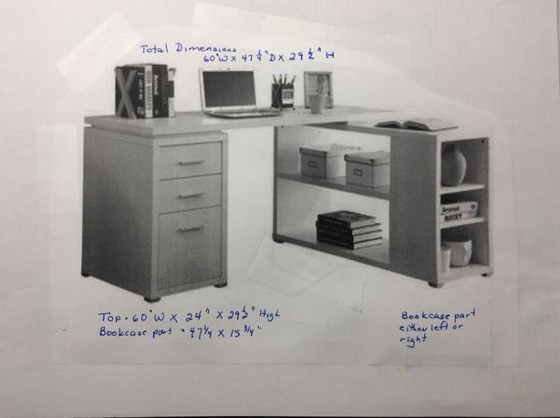 White Desk with attached bookcase