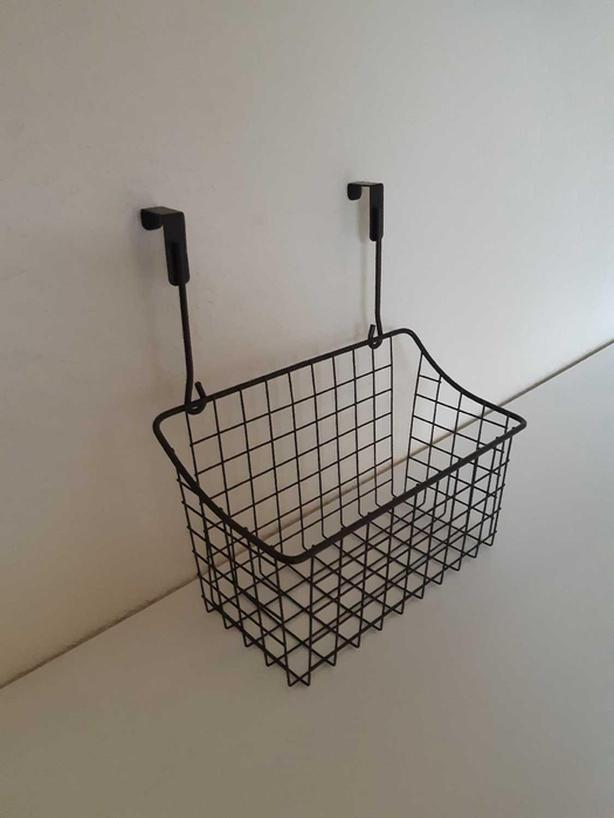 STURDY OVER-THE-CABINET STORAGE BASKET - METAL WIRE