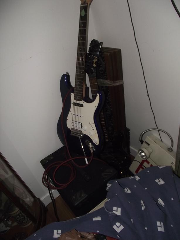 two guitars and monitor amp