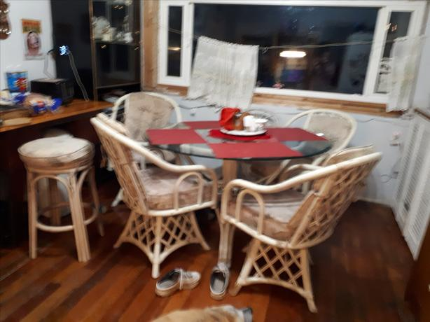 Bamboo and Tempered Glass Table and chairs