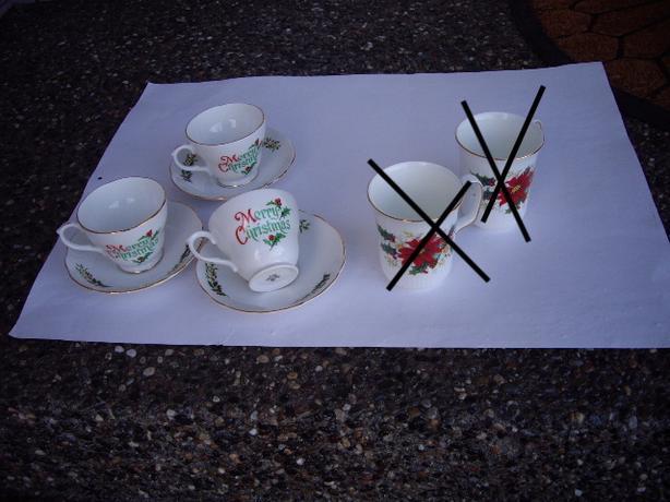 3 CHINA CUPS/SAUCERS ENGLAND. RA/MUGS 2 RA