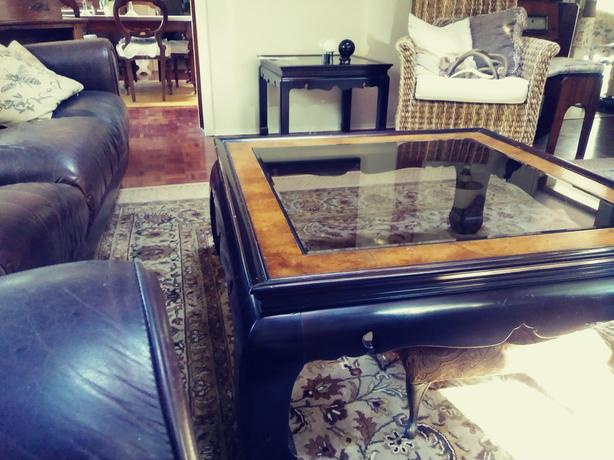 Asian influence coffee table and two side tables