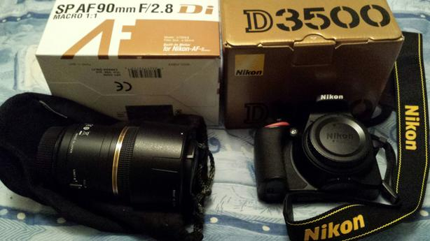 Nikon D3500 SLR with Tamron 90mm Lens