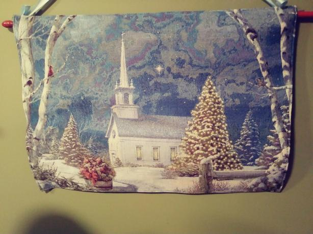 2 lighted Tapestry Christmas scenes