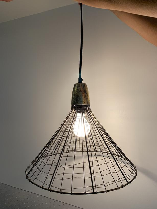 Black Wire Designer Lamp with Cloud Copper Top
