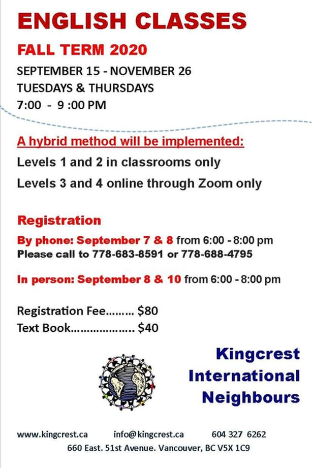 English Classes taught by Kingcrest International Neighbours