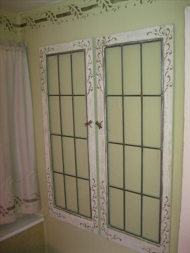 Pair of leaded windows