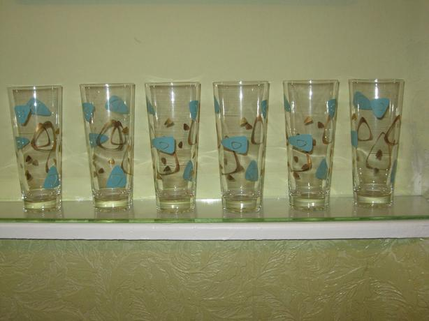 Set of 6 Atomic pilsner glasses 1950s