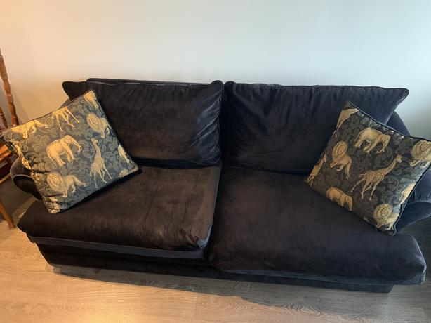 Dark Blue Velvet Couch with Pillows
