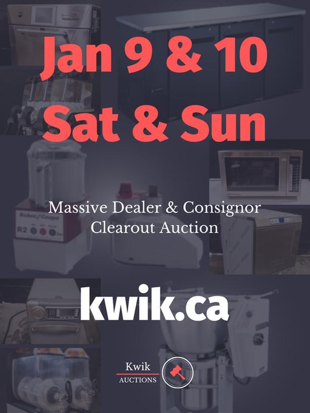 Massive Restaurant Dealer and Consignor Auction, Jan 9 & 10