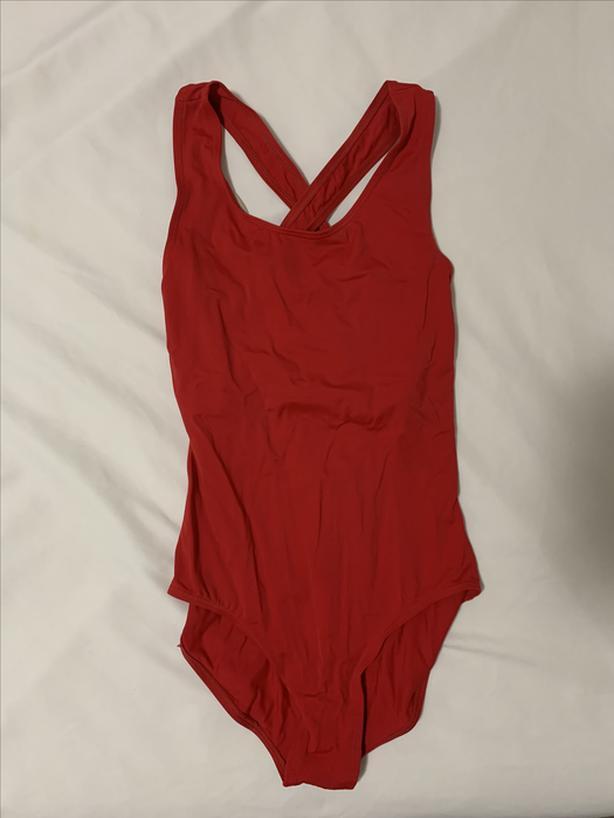 Red gymnastics leotard/bodysuit, X back