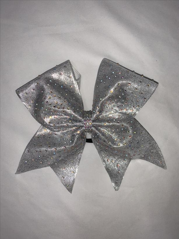Silver cheerleader hair bow