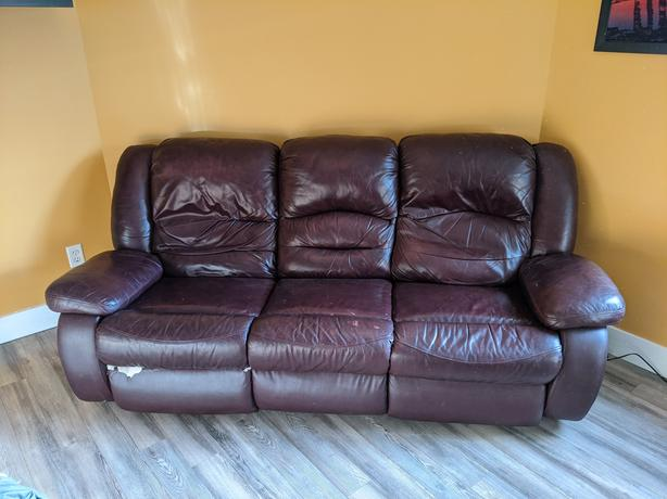 Burgundy Leather Reclining Couch, $100 OBO