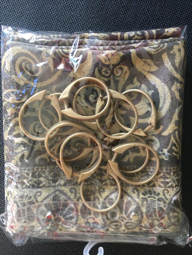 New Gold/Brown Shower Curtain with 12 Matching Rings