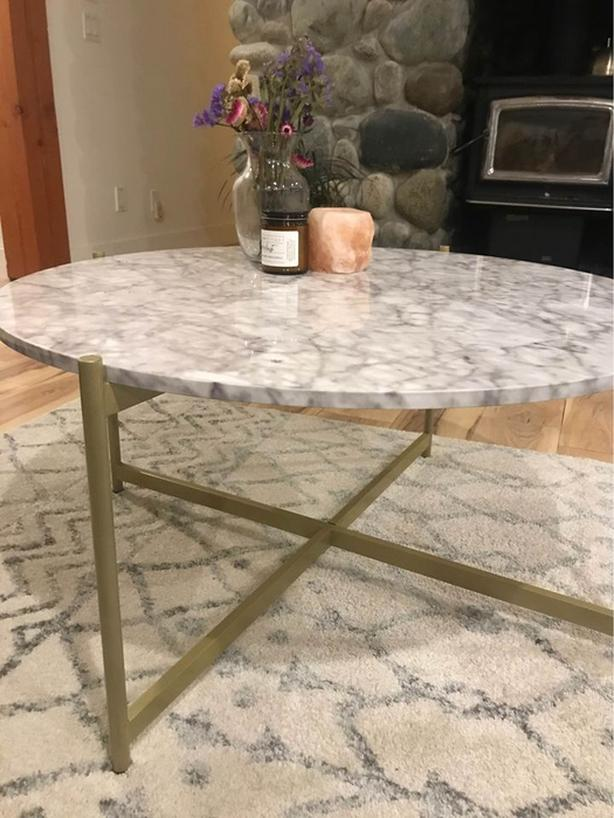 Faux Marble and Gold Coffee Table