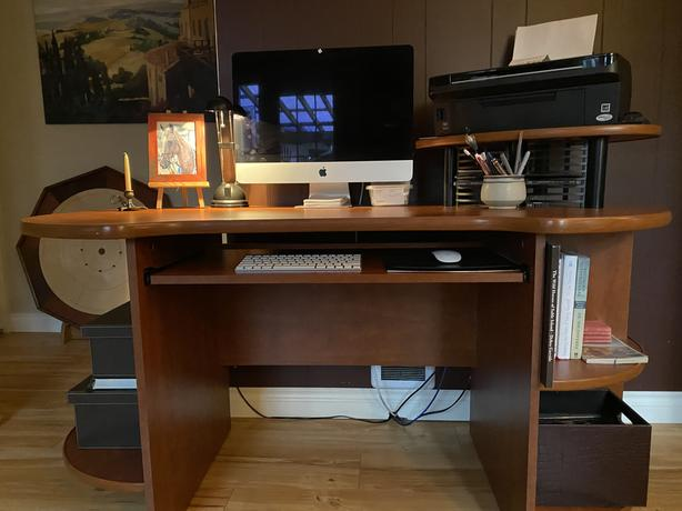 Computer desk with printer stand
