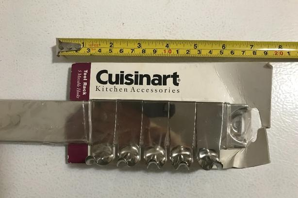 "New Cuisinart 24"" Tool Rack 5 Movable Hooks $15  With mounting screws"