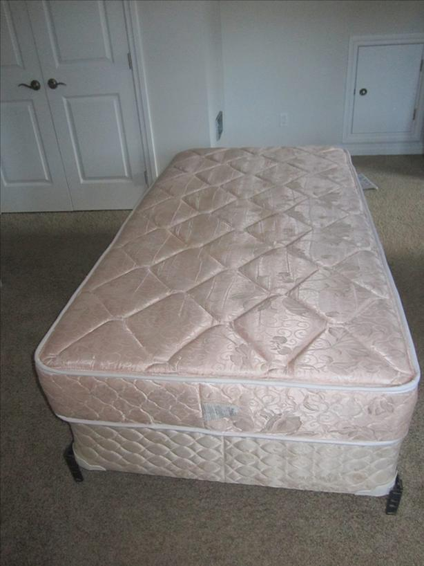 Single Bed with Box Spring and Metal Frame