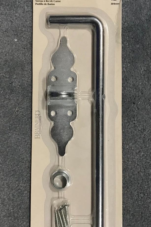New Zinc Plated 12 inch Cane Bolt $10