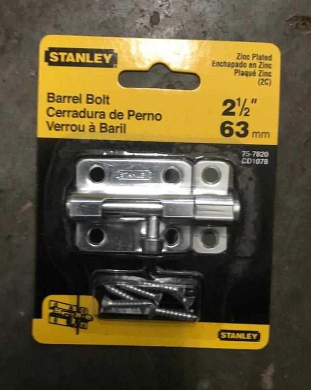 NEW Stanley Zinc Plated Barrel Bolt 2.5 inches $4  Several available, two for $6