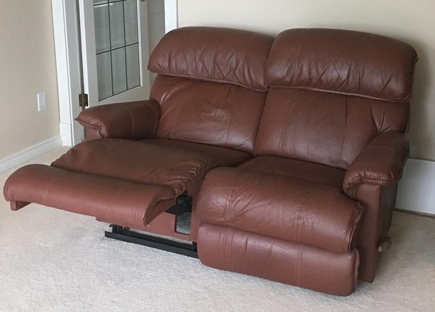 Leather La-Z-Boy® reclining couch and loveseat