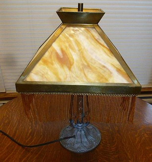Antique Slag Glass Table Lamp with beads