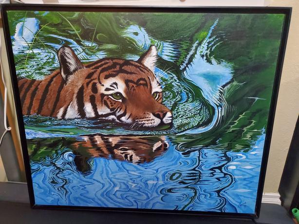 Tiger hunting in water painting