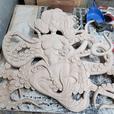 Mermaid octopus wood carving