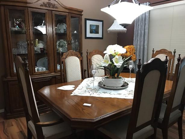 Oak Dining set with china cabinet