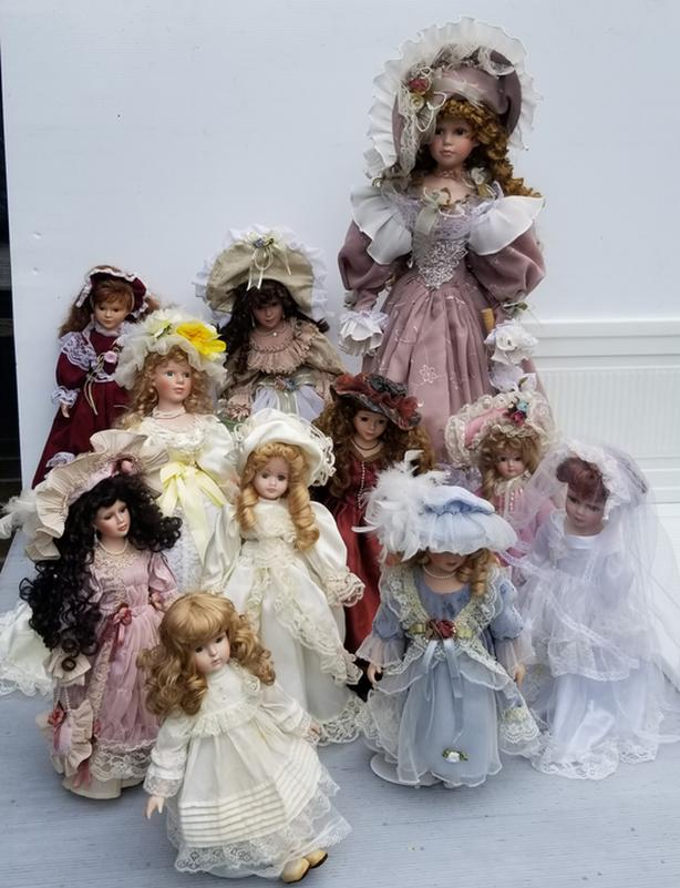 11 Porcelain Collectible Dolls - OBO