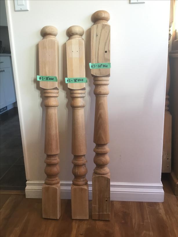 Half Newel Posts $10 each OAK (stair posts / handrail posts)