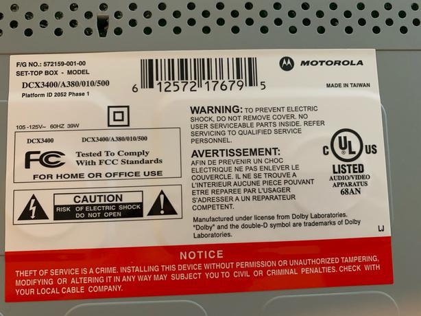 Shaw cable box DCX3400