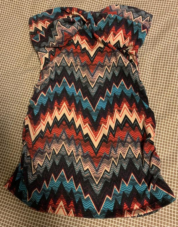 Cute Strapless Aztec Print Top with Built in Bra Pads S/M