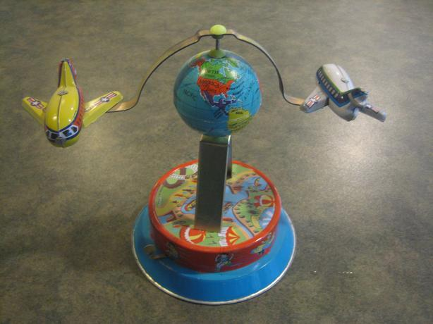 Vintage Collectible Windup Toy Airplanes Around Globe Carousel