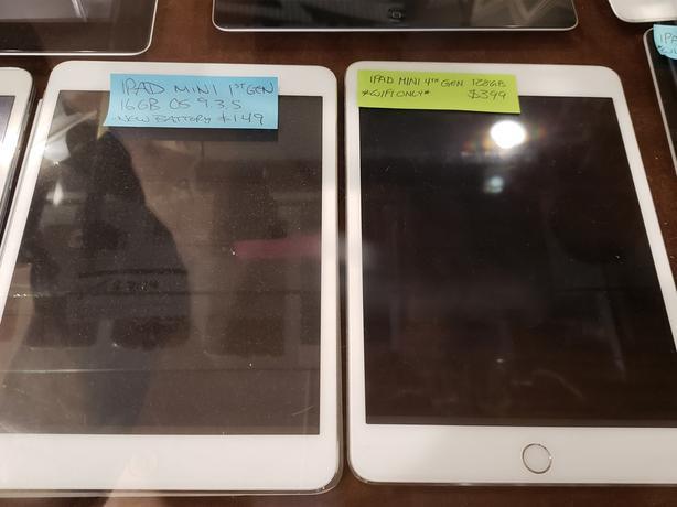 iPad Minis - 2 Available - 1st Gen ($149) & 4th Gen ($399)
