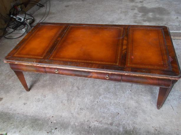 Vintage Mid Century Solid Wood Leather Top  Coffee Table