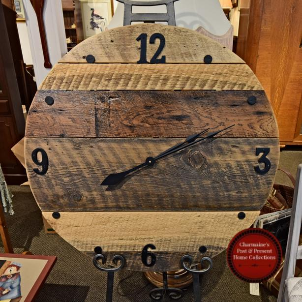 COOL RUSTIC WALL CLOCK AT CHARMAINE'S