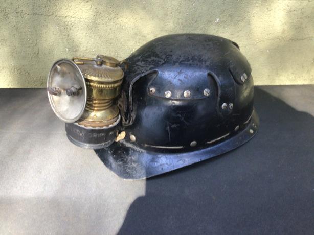 COAL MINERS HELMET AND GUYS DROPPER CARBIDE LAMP