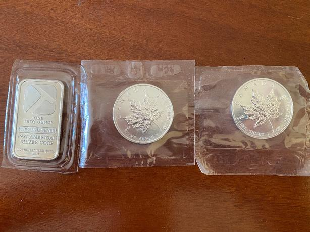 Three Canadian Silver Troy Ounces